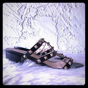 Black Caged Square Studded Slip On Heeled Sandals